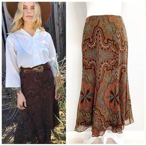 Ralph Lauren   Silk Paisley Boho Midi Skirt Sz 10